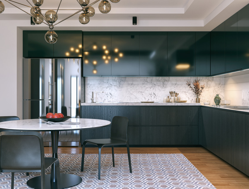Classic kitchen interior with exquisite black cabinets and chairs