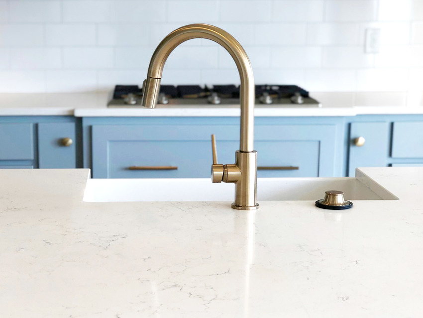 Close up of fireclay sink surface