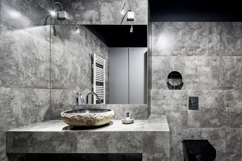 Concrete bathroom mirror basin sink countertop