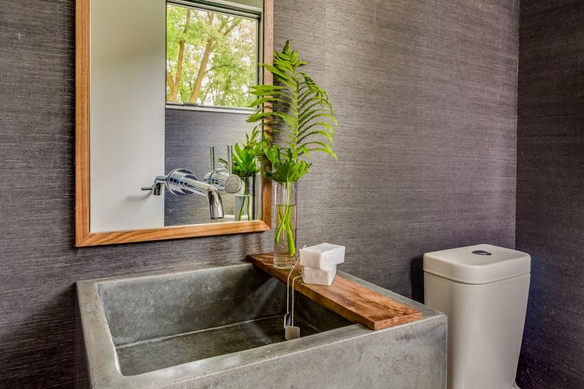 Concrete gray sink and wall mirror indoor plant bathroom