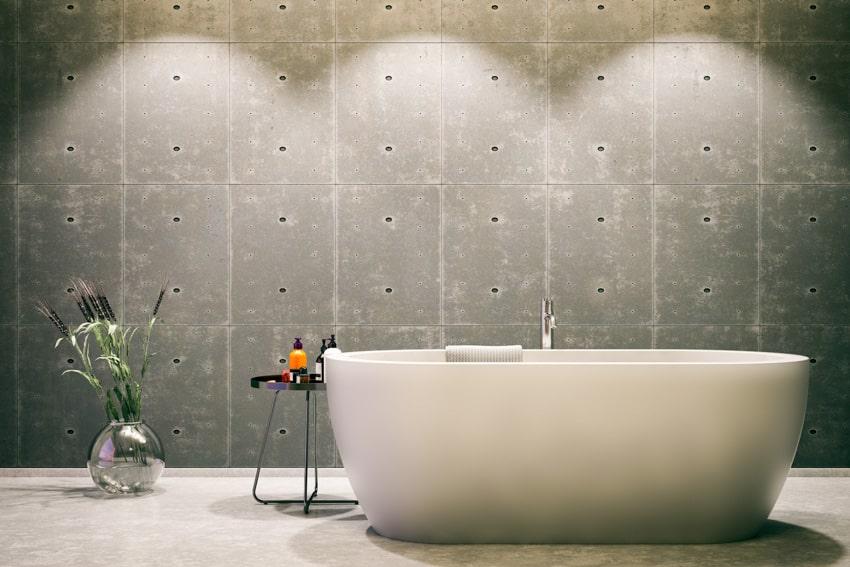 Concrete wall indoor plant bathtub