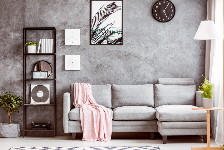 Concrete wall living room sofa with cushions indoor plant