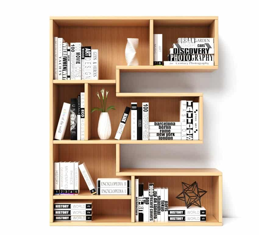 Contemporary bookcase with books and vase in it