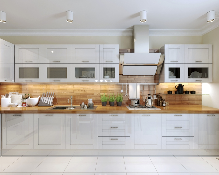 Contemporary kitchen design with double stacked cabinets