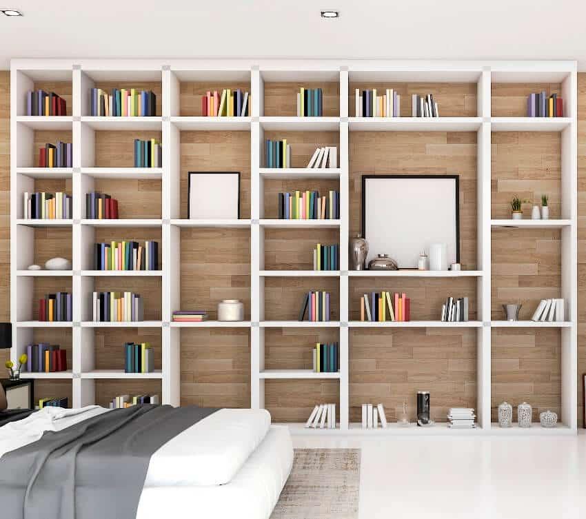 Contemporary wood bedroom with built in melamine bookshelf