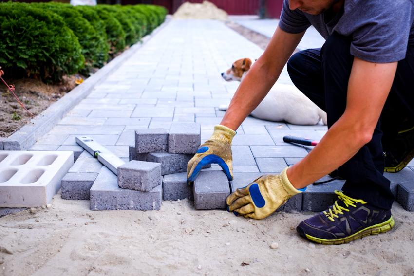 Contractor installing brick walkway