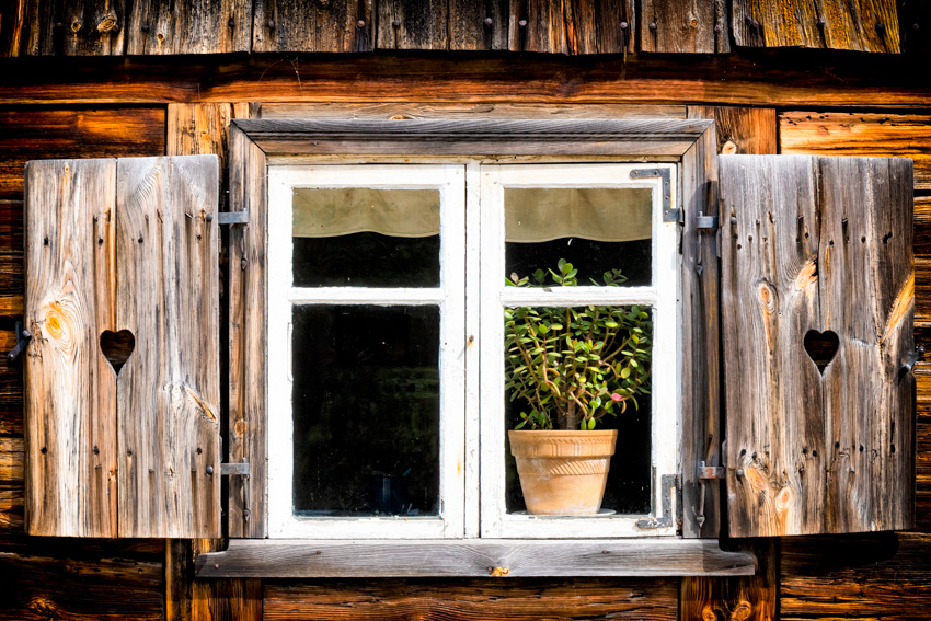 Cut out wood shutters for windows