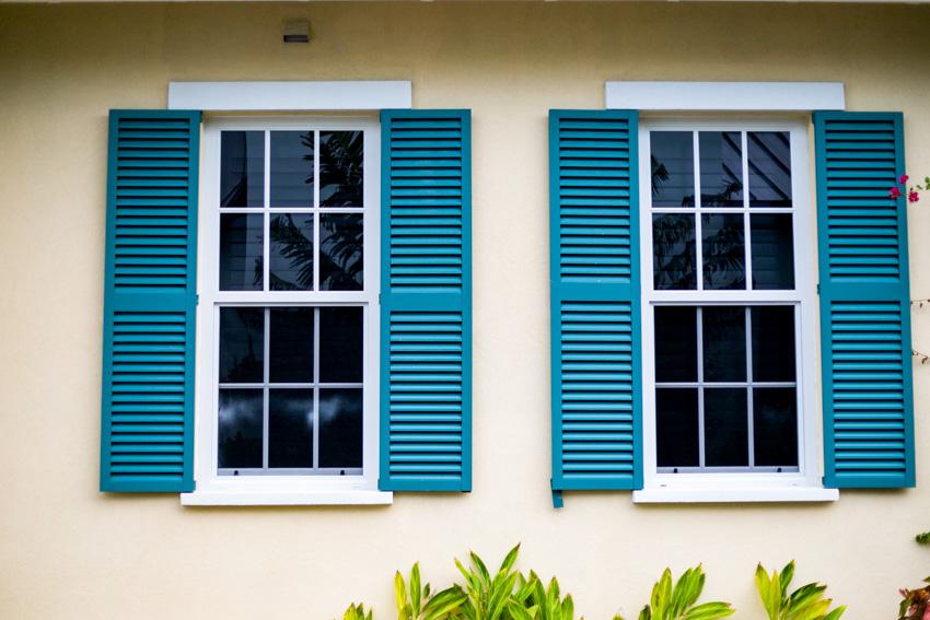 Exterior shutters made of vinyl window