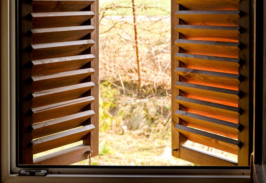 Faux wood shutters window