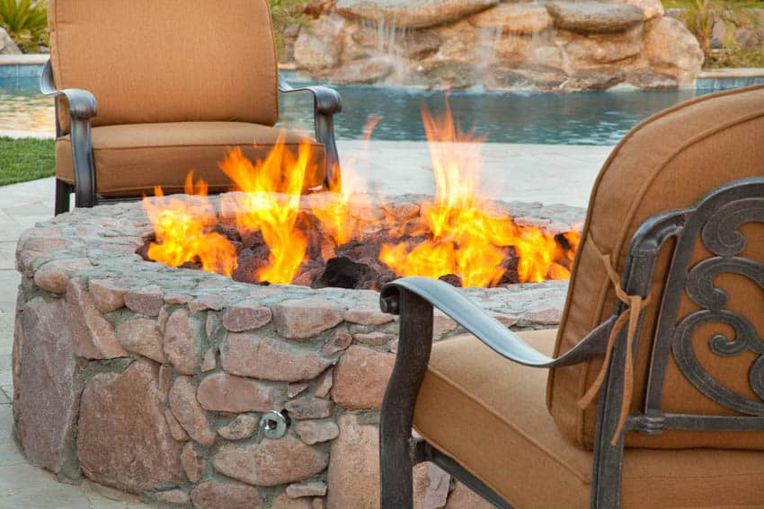 Fire pit backyard with outdoor chairs