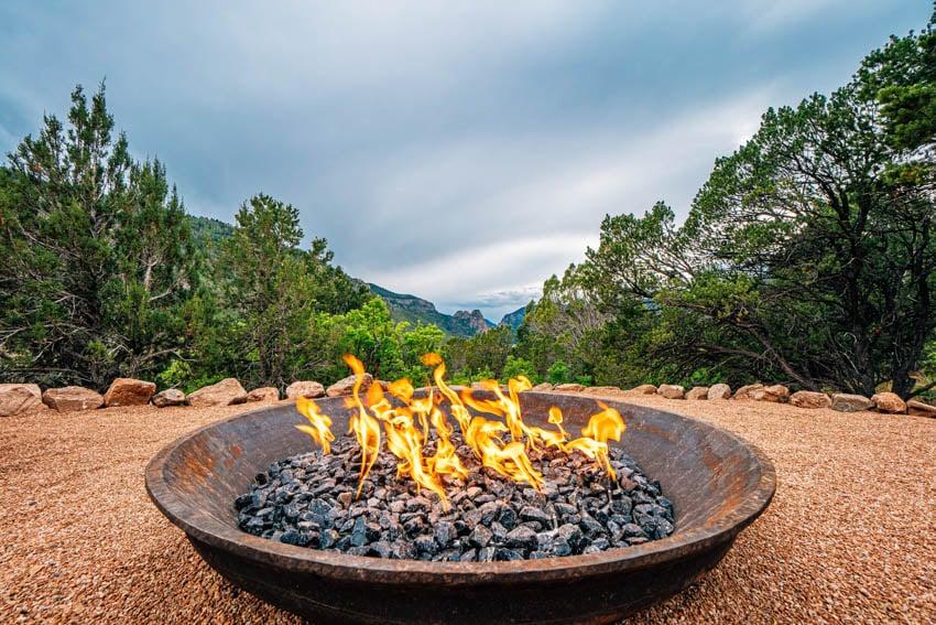 Fire pit lava rocks burning