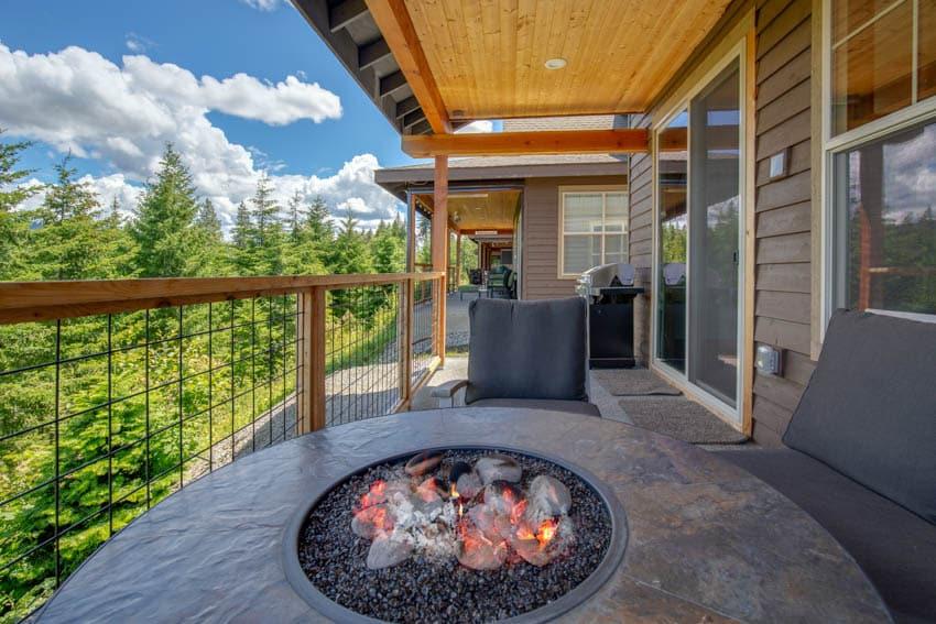 Fire pit outdoor wood siding glass door