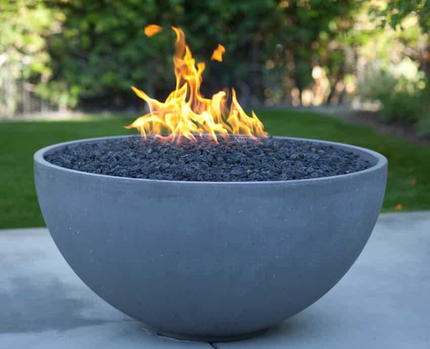 Fire pit rocks burning backyard