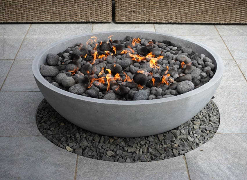 Fire pit with rocks burning