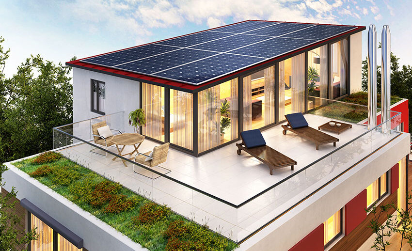 Rood deck with solar panels