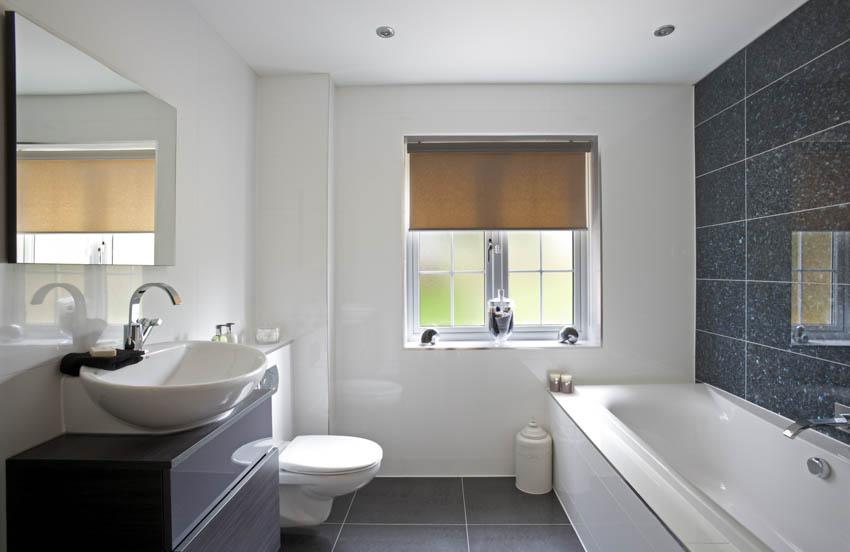 Frosted glass bathroom window basin sink mirror black floor bathtub