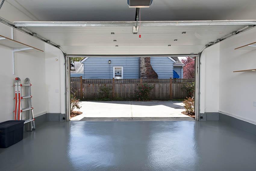 Garage interior with painted flooring