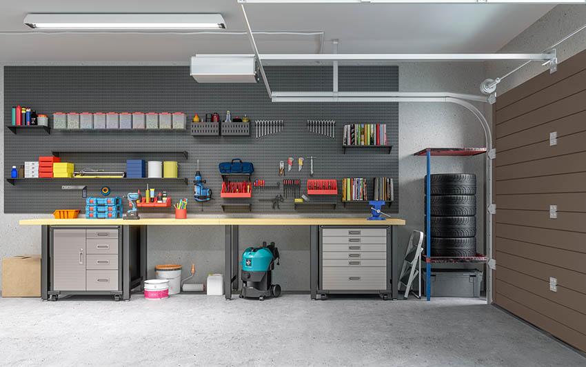 Garage interior with workshop