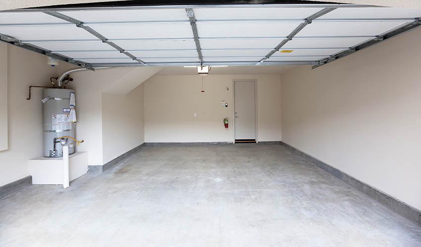 Garage with concrete flooring