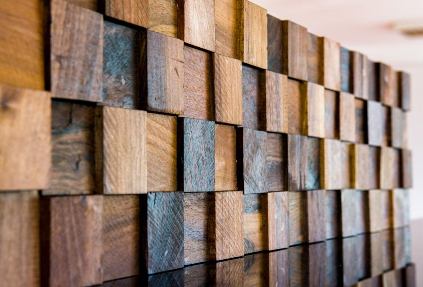 Geometric wood decorative panel as deck lattice alternative