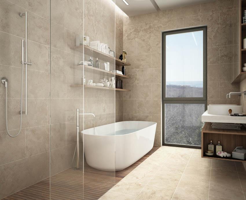 Glass bathroom window shower area bathtub sink