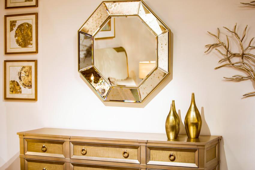 Golden framed mirror decor pieces