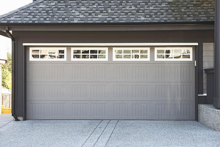 Gray and white aluminum garage door