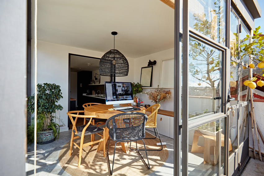 Home office in sunroom