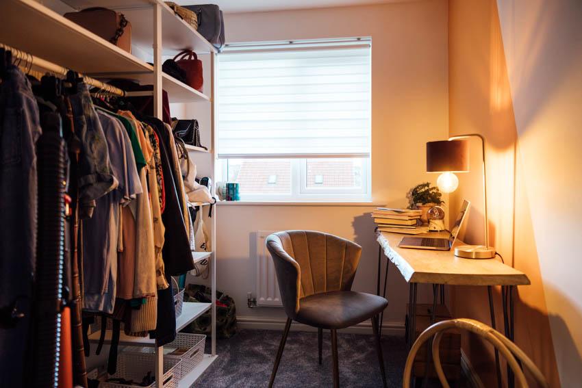 Workstation lamp closet window chair carpet floor