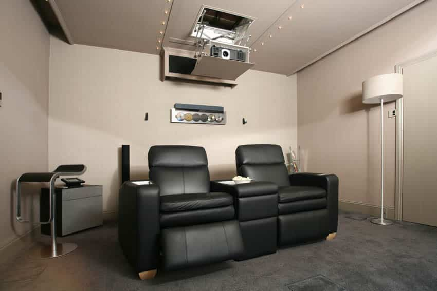 Home theater black recliner chairs ceiling projector
