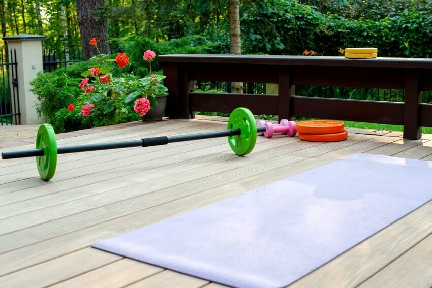 Home training equipment on patio space