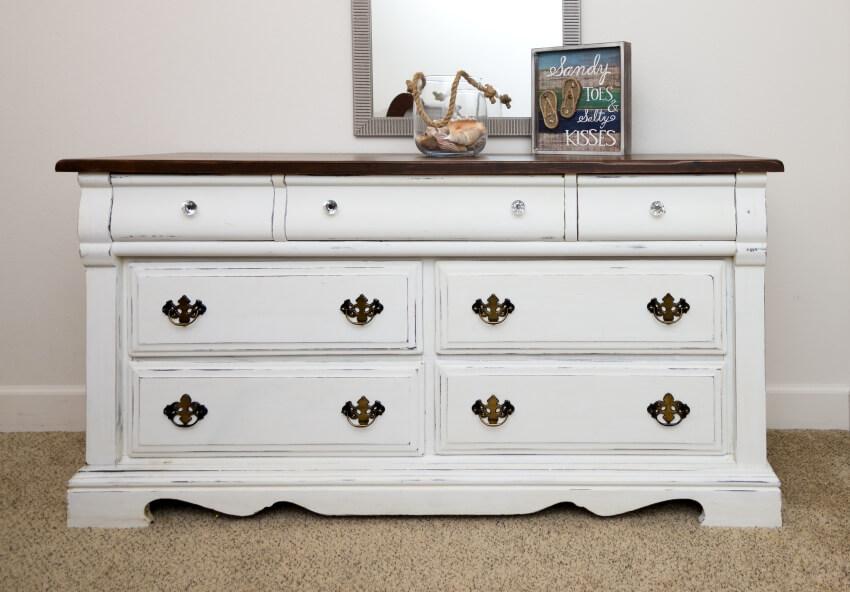 Horizontal antique white dresser with beach decor