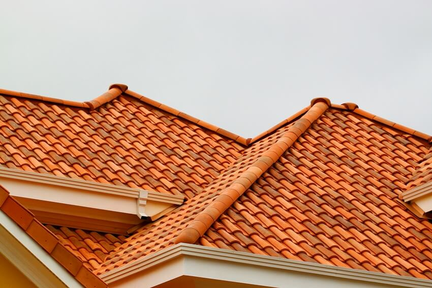 House with spanish barrel tile roof