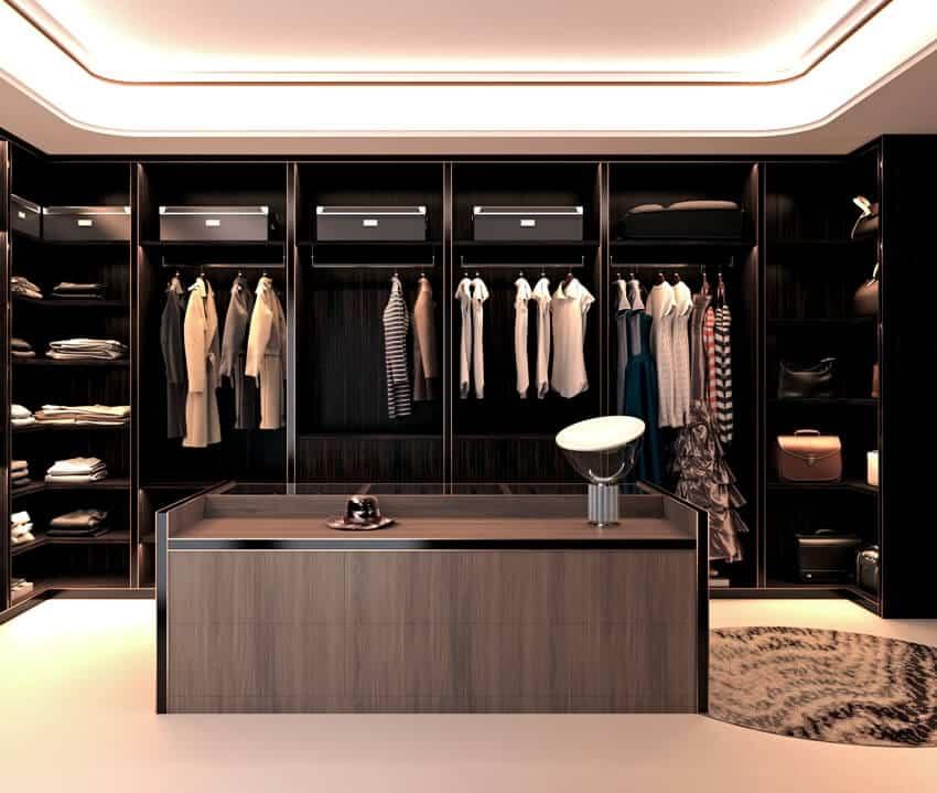 A huge and dark walk in closet interior