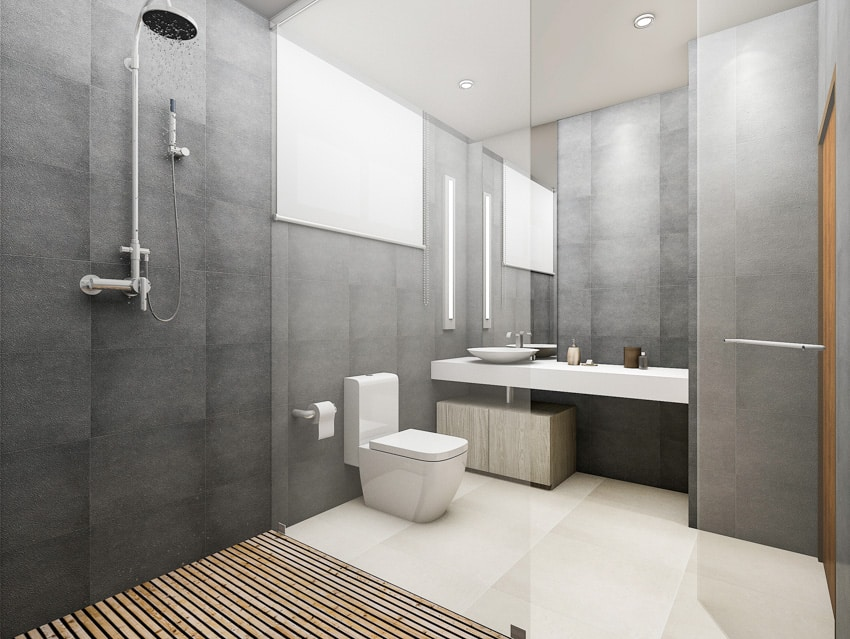 Bathroom with shower and toilet paper holder