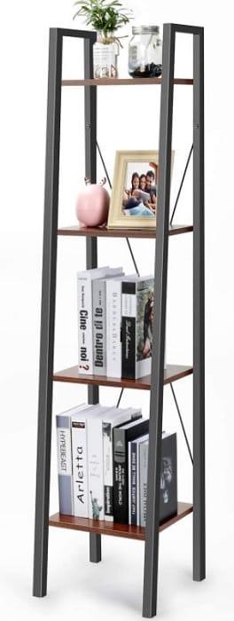 Industrial ladder shelf 4 tier bookshelf