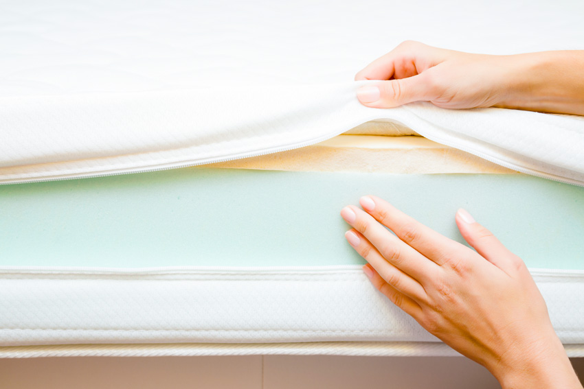 Inspecting high quality foam inside sofa