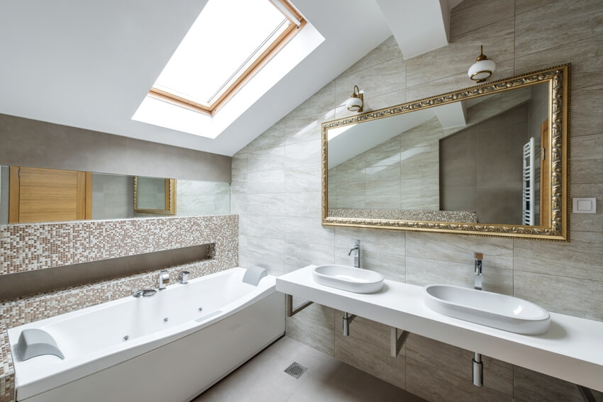 Interior of a luxury fully tiled bathroom in loft apartment