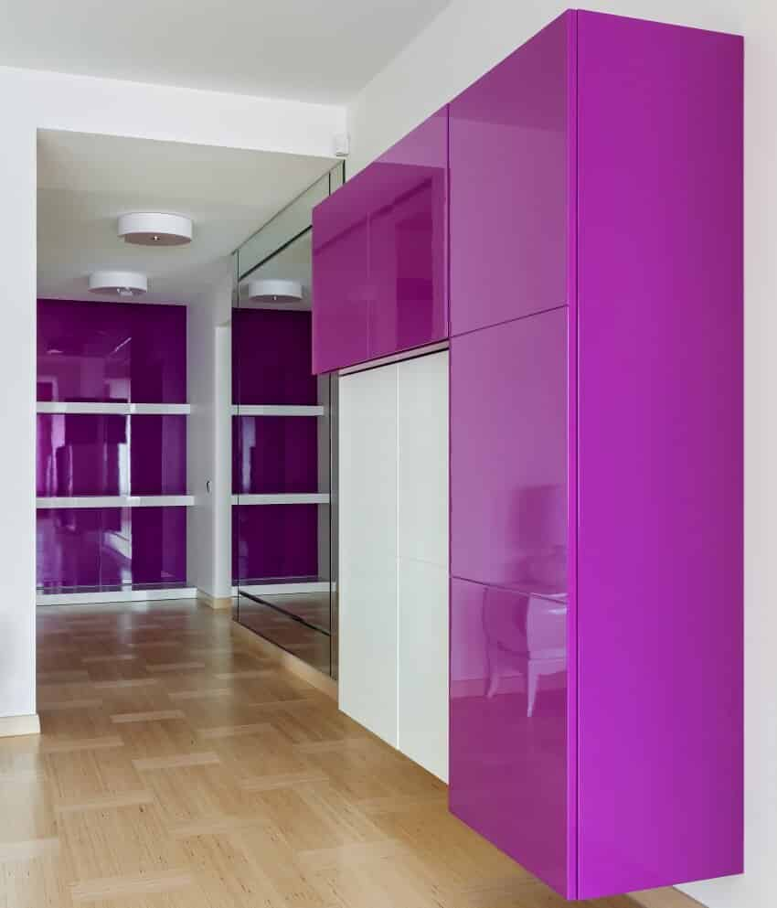 Interior of empty wardrobe room with furniture in pink colors