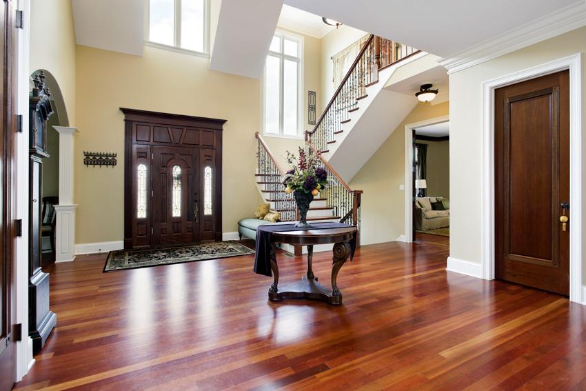 Interior of front door cherry wood planks stairs