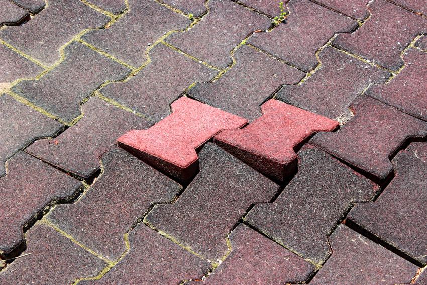 Interlocking brick paver walkway