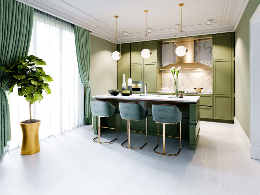 Kitchen and dining area green cabinet curtain indoor plant