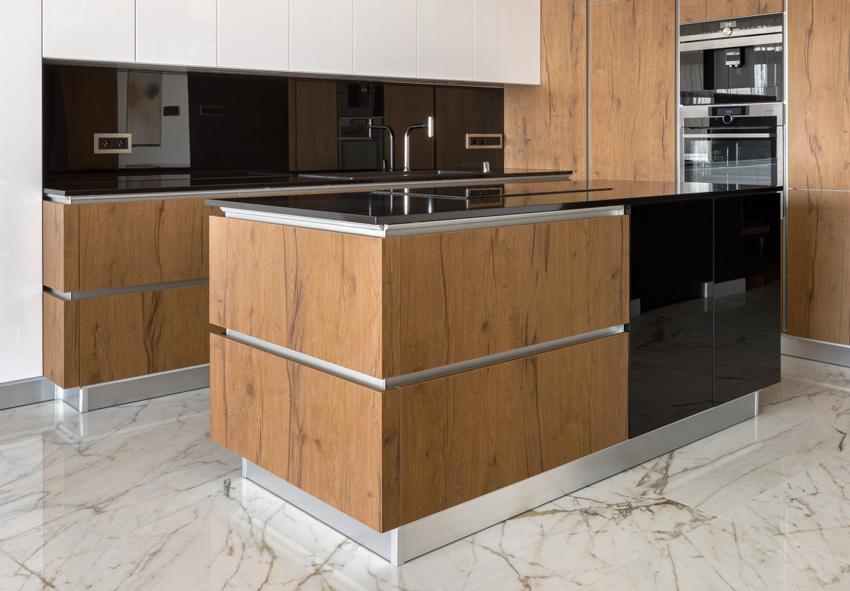 Kitchen black countertop backsplash center island marble floor
