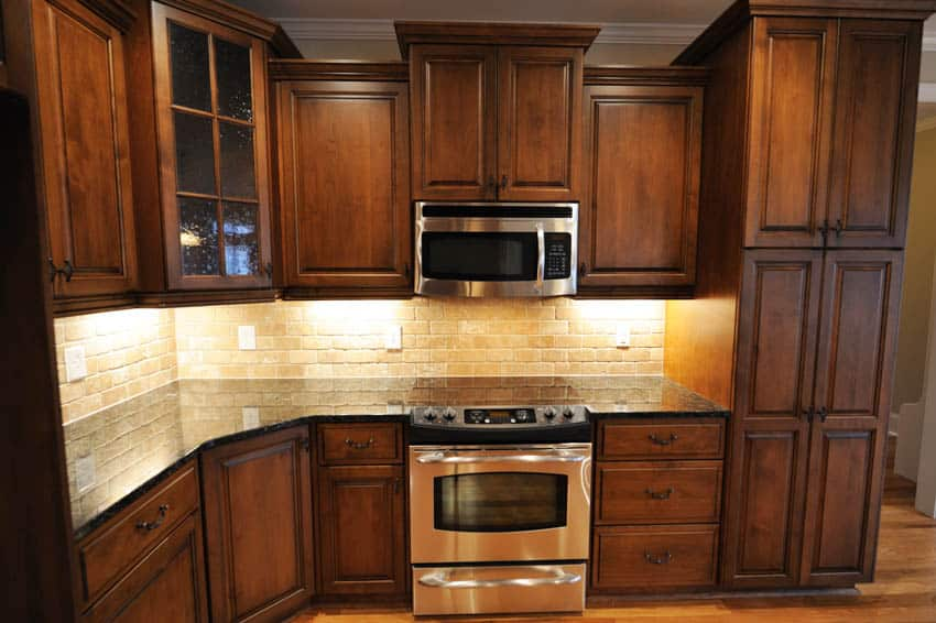 Kitchen cabinets made of maple wood oven countertop