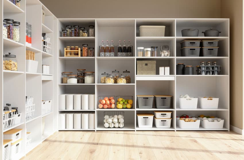 Kitchen pantry room filled with food staples