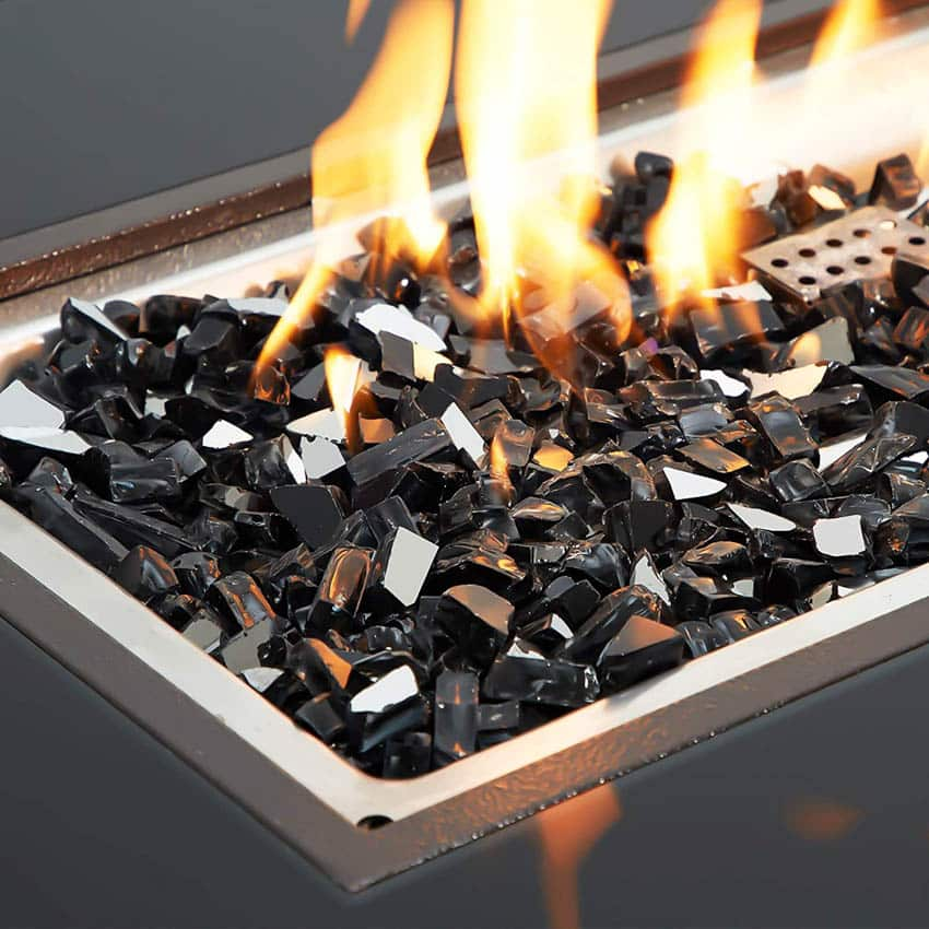 Lava glass burning in fire pit