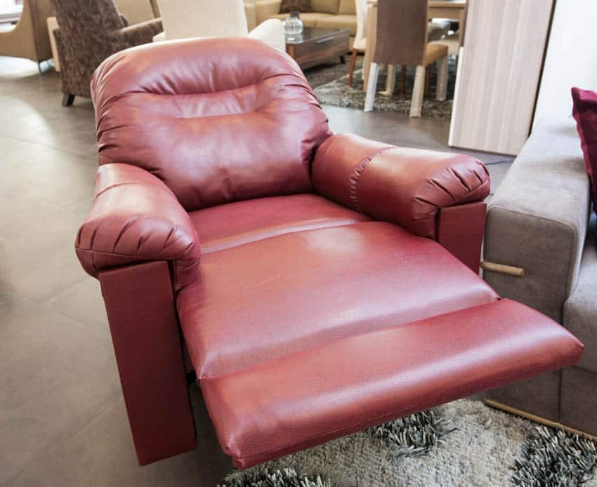 Lay flat red leather recliner