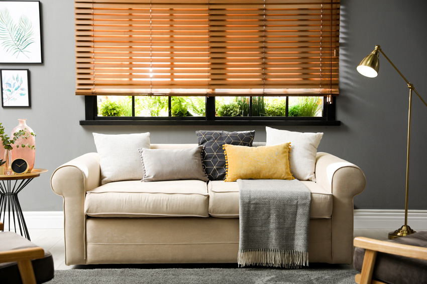 Living room with window shutters sofa pillows lamp rug