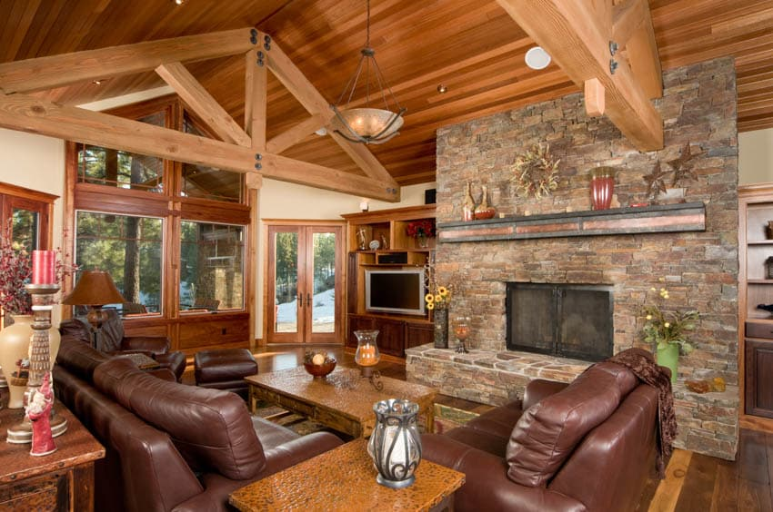 Log cabin brown leather furniture fireplace wood floor ceiling