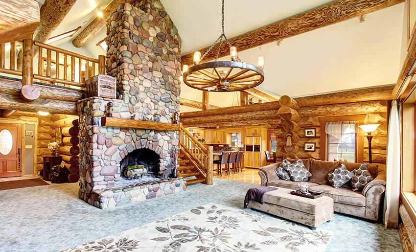 Log cabin living room with yellow paint